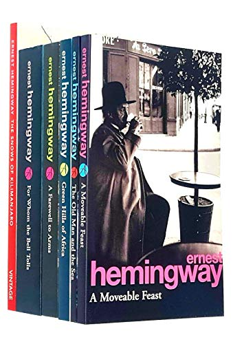 Ernest Hemingway Collection 6 Books Set (For Whom The Bell Tolls, The Snows Of Kilimanjaro, The Old Man and the Sea, A Farewell To Arms, Green Hills of Africa, A Moveable Feast)