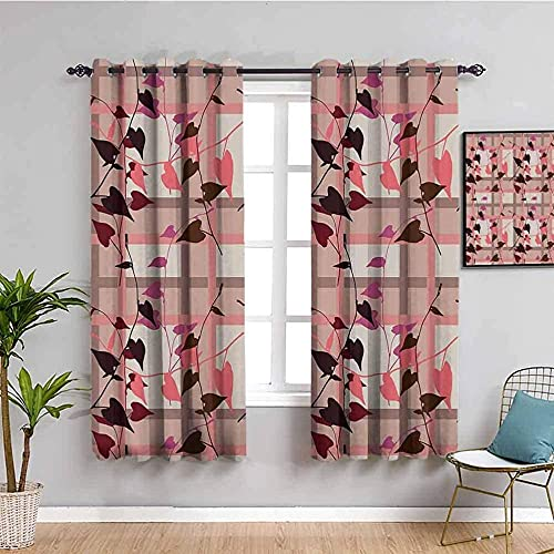 JYDFC Curtains For Bedroom Eyelet - Thermal Insulation Noise Reduction - 3D Digital Printing - Super Soft Thick - Children'S Room Boy Girl Bedroom Room - 104X63 Inch - Abstract Geometric Plants Leaves