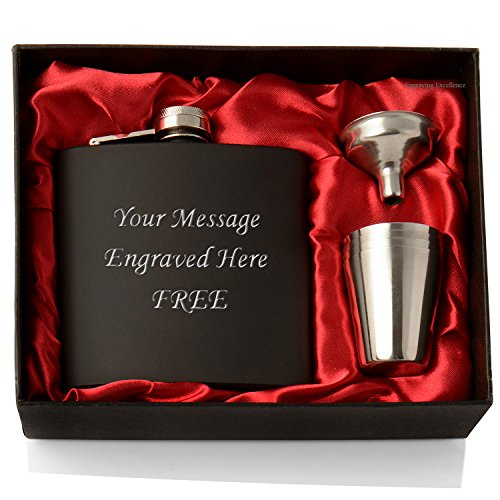 Engraved 6oz Hip Flask Gift Set - 6oz Black Stainless Steel Hip Flask With...
