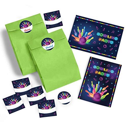 8 Einladungskarten zum Kindergeburtstag Bowling für Mädchen und Jungen / Erwachsene incl. 8 Umschläge, 8 Tüten / grün, 8 Aufkleber / Bunte Einladungen zum Geburtstag / Geburtstagseinladungen
