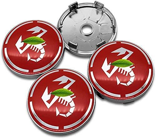 4 Piezas Tapas centrales Plastico Aleación Logo Insignia Coche, para Fiat Abarth Punto 500 Ducato Palio Bravo Tapacubos Pegatinas