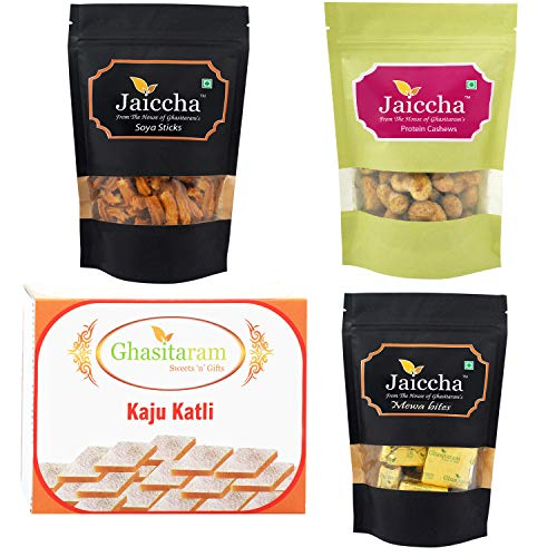 Ghasitaram Gifts Diwali Gift - Best of 4 Kaju Katli, MEWA Bites Pouch, SOYA Sticks Pouch and Protein Cashews Pouch