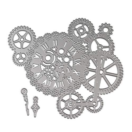 luosh Troqueles de Corte Relieve DIY, Troqueles Steampunk Gear Craft Troqueles de Corte de Metal para Hacer Tarjetas de Papel DIY Scrapbooking