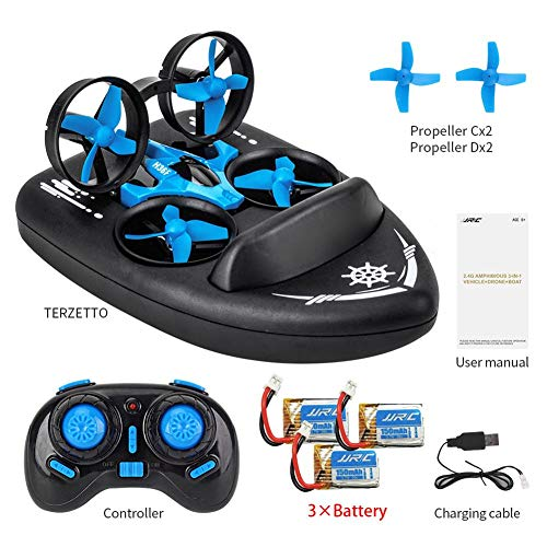 JJRC H36F Mini RC Drone, 3 In 1 RC Quadcopter Support RC Vehicle RC Hovercraft Boat Mode 360° Flips Headless One Key Return, Best Drone For Kids Beginners Children Toys Gift (Blue, OneSize)