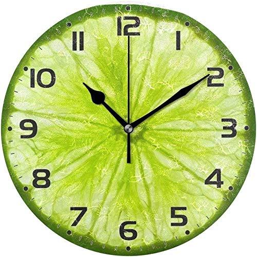 XXSCXXSC Reloj de Pared Fresco Lima Fruta Menta Verde Limón Rebanada Reloj de Pared Redondo para Sala de Estar Dormitorio Oficina Cocina