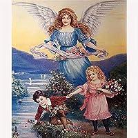 QWEFGDF DIY塗装キット ブラシと絵筆を含む大人と子供用の油絵キット, (40x50 cm)天使の守護者
