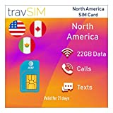 travSIM AT&T Carte SIM prépayée en Amérique du Nord (USA, Canada et Mexique) 22 Go Internet mobile valable pendant 21 jours (AT&T) pour les États-Unis, le Canada et le Mexique (Incluant Talk et Texte)