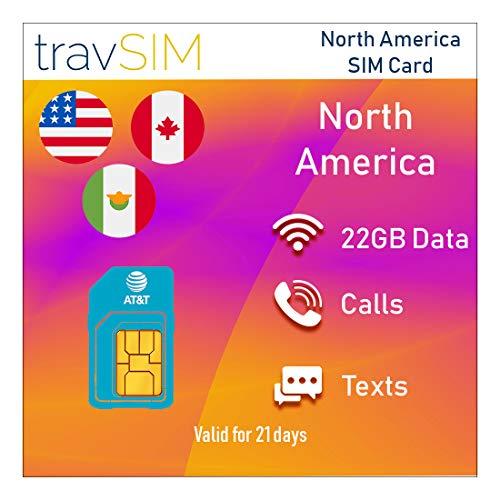 TravSIM Prepaid AT&T SIM-kaart voor Noord-Amerika (VS, Canada en Mexico) - 22GB 3G 4G LTE-gegevens Plus *Onbeperkte lokale gesprekken en sms voor 21 dagen