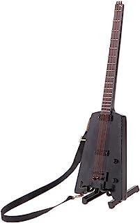 Baosity Handmade Black Wooden Guitar for 1/6 Action Figures Dolls Accessory