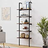 Viewee 5-Tier Wood Wall-Mounted Bookcase, Industrial Ladder Shelf with Metal Frame, 72 Inches 5-Tier Storage Rack Shelves Bookshelf Wall for Home Office