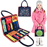 Busy Board Montessori and Sensory for Toddlers - Educational Toys for Children Learning Tool for Kids Portable Bag with Buckle Snaps Zipper Buttons Alphabet Clock Activities Kit for Travel Car Plane