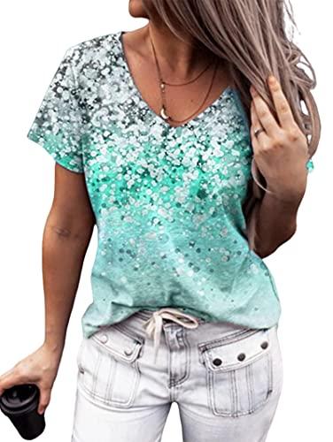 Camiseta Mujer Manga Corta Mujer Sexy con Cuello En V Lentejuelas Brillantes Decoración Mujer Superior Vacaciones Verano Ocio Suelto Cómodo Elegante Dulce Citas Mujer Camisa B-Light Blue L