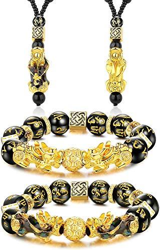LOLIAS Feng Shui Pi Yao Pulsera Collar Conjunto Obsidiana Negra Pi Xiu Pulsera China Hecha a Mano Amuleto Collar Cuentas Elástico Atraer Riqueza y Buena Suerte Pulsera para Mujeres Hombres