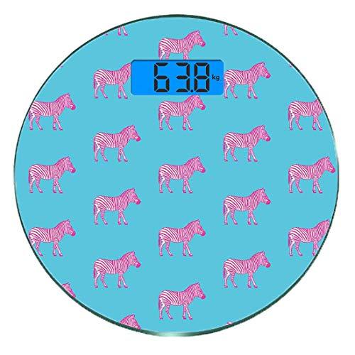 Bilancia digitale di precisione tondo Zebra rosa Misurazioni accurate del peso della bilancia pesapersone in vetro ultra sottile,Zebre moda savana grunge stilizzato terre esotiche illustrazione artsy,