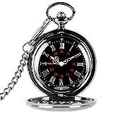 TrifyCore Reloj de Bolsillo de números Romanos con Cadena Regalo de Padres Colgante Vintage Negro