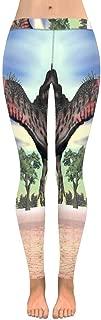 INTERESTPRINT Women's Fashion Print Yoga Pants Navy Blue Hand Drawn Cactus Tropical Garden Soft Slim Low Rise Leggings