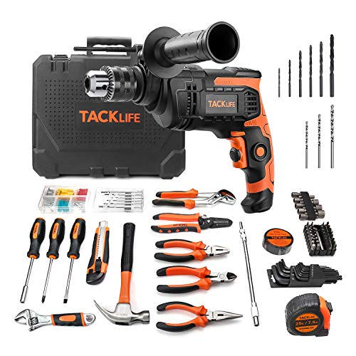 Hammer Drill 800W 3000 RPM Impact Drill with Home Tools Set 145pcs Accessories Toolbox for Home Repair and Decoration Tool Kit, 2 Variable speeds, 360 ° Adjustable Additional Handle - THTK01A