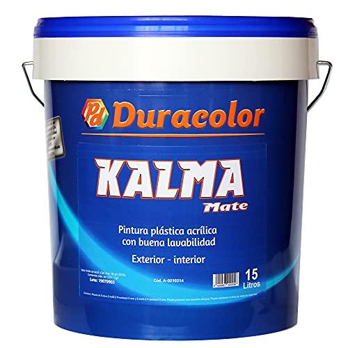 Pintura Kalma Mate - Color blanco - 15 Litros - Pintura Plástica Acrílica de Textura Lisa y Acabado Mate - Aplicación Exterior e Interior - Duracolor