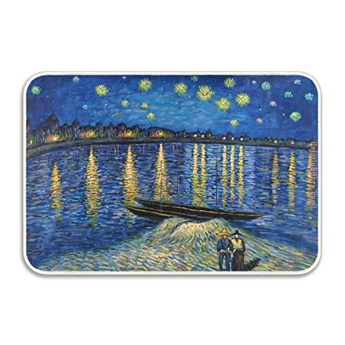 DSSYEAH Noche Estrellada sobre el Ródano Van Gogh Felpudo Piso de la Cocina Baño Entrada Alfombra Alfombrilla Absorbente Decoración del baño Interior Felpudos Caucho Antideslizante 60x40 cm