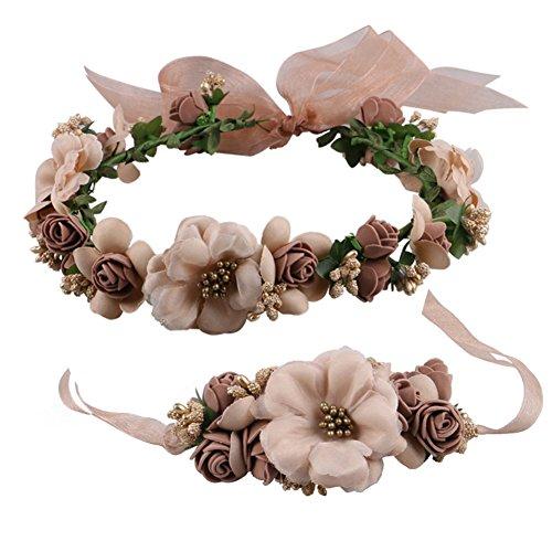 Cratone Diadema de flores de imitación para novia dama de honor accesorio para el pelo con cinta ajustable para guirnaldas fiestas bodas festivales medium marrón