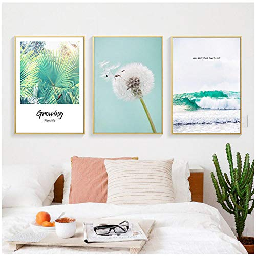 AdoDecor Lienzo Arte de la Pared Pintura 3 Piezas Imagen nórdica Tropical Palm Leaf Diente de león Póster e impresión para la Sala de Estar Decoración del hogar 40x60cm Sin Marco