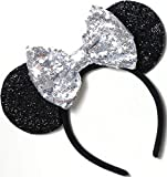 CL GIFT Silver Mickey Ears, Sparkly Mickey Ears,...