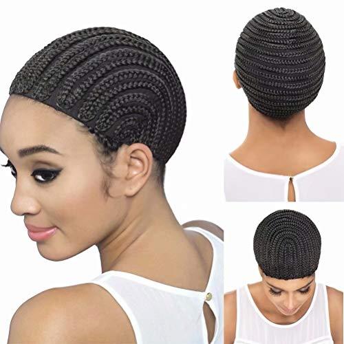 FEEL ME Braided Cap 1 Piece Crochet Braided Wig Caps in Cornrow Sew Hair for Making Wigs or Weave Easier Sew In Crochet Wig Caps Medium Size Black Crochet Cornrow Cap
