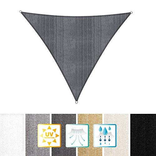 Lumaland Sonnensegel Dreieck 5 x 5 x 5 m - inkl. Befestigungsseile - Wasserabweisend, Wetterbeständig, 100% HDPE mit UV Schutz - Sonennschutz, Schattenspender, Wetterschutz - Dunkelgrau