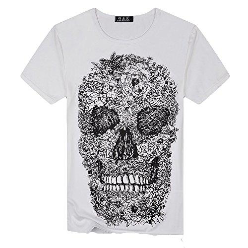 WEUIE Hot Sale Mens Skull Printing Tees Shirt Short Sleeve T-Shirt Blouse Tops (L,White)
