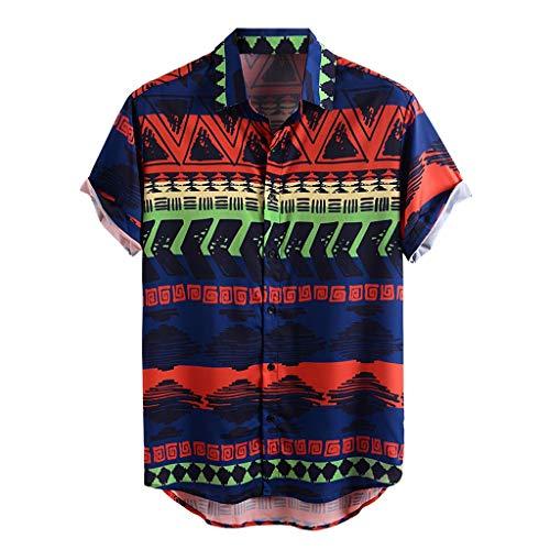 Xniral Herren Hawaii Hemd Blumen Beiläufig Aloha Freizeit Streifen Shirt Button Down Umlegekragen Graphic Shirt Sommer T-Shirt(d-Blau,L)