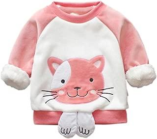 MiyaSudy Baby Girl Cartoon Velvet Sweatshirt Kids Girl Winter Thick Warm Long Sleeve Tops Newborn Fleece Sweater 1-4 Years