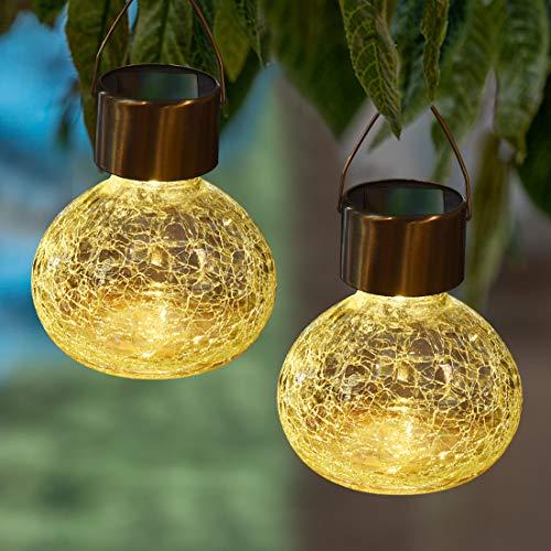 MAGGIFT 6 Stück Solar Hängende Glas Lichter Außen Solar Weihnachten Laterne Cracked Glas Dekorative Garten Baum Lichter für Hof, Garten, Terrasse, Urlaub Party Dekorationen, Warmweiß
