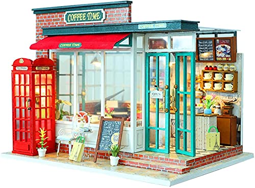 MWKL Lujosa casa de muñecas en Miniatura con Muebles, Caja de música de casa de muñecas de Madera para Bricolaje, Modelo de casa de muñecas de café a Escala 1:24, cabaña ensamblada para niños Ch