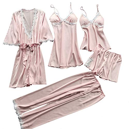 5 Piezas de camisón Sexy de Talla Grande para Mujer, Ropa de Noche, Ropa Interior de Encaje, Pantalones Cortos Largos, Pijama para Mujeres, Conjuntos de lencería