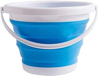 Seau Pliable, Seau d'eau en Plastique Rond Bleu Silicone 10L, Utilisé pour Le Nettoyage Domestique, Le Camping, la Blanchi...