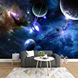 HGFHGD Self-Adhesive 3D Mural Starry Universe Space Planet Photo Wallpaper Living Room Bedroom Home Decoration Wall Sticker