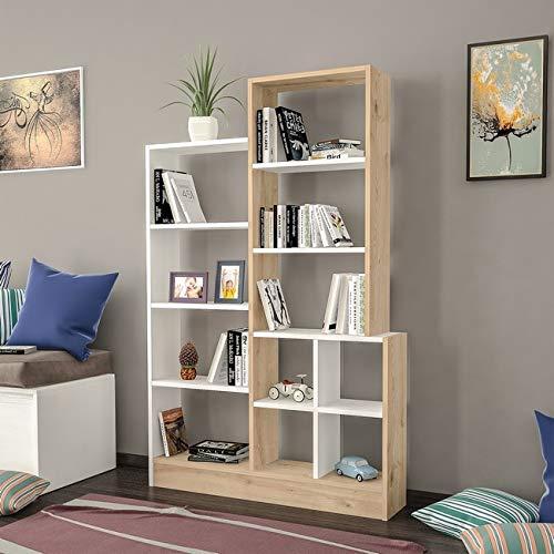 Homemania Libreria Monde, Legno, Rovere-Bianco, 102,2x22x160,8 cm