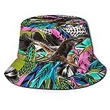 Sombrero de Cubo de Plumas de Pavo Real Colorido Vintage, Bonitos Sombreros de Pesca Divertidos para Montar, Escalar, Senderismo