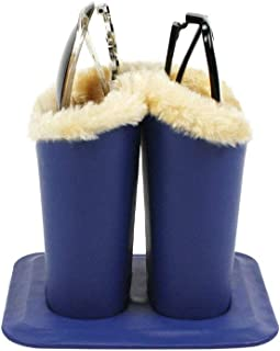 JAVOedge [2 in 1] Double Soft Plush Lining Eyeglass Stands holder Case For Desks Or Nightstands