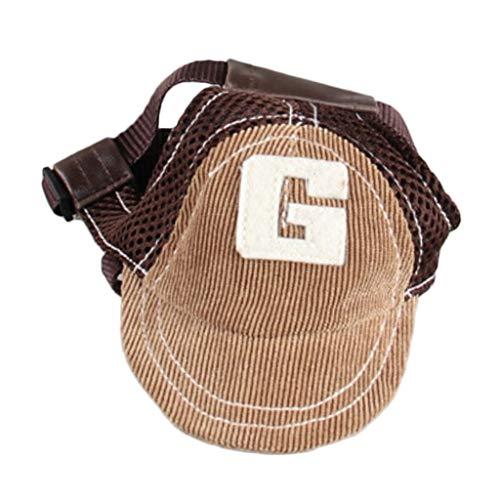 FLAMEER Hund Baseballmütze Hundecap Hundemütze Sommer Sonnenschutz Kappe Hut mit Ohrlöchern - Kaffee, S