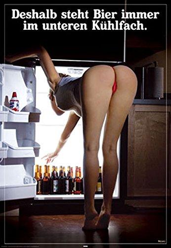 Poster Kühlfach - Deshalb steht Bier... - Größe 61 x 91,5 cm - Maxiposter