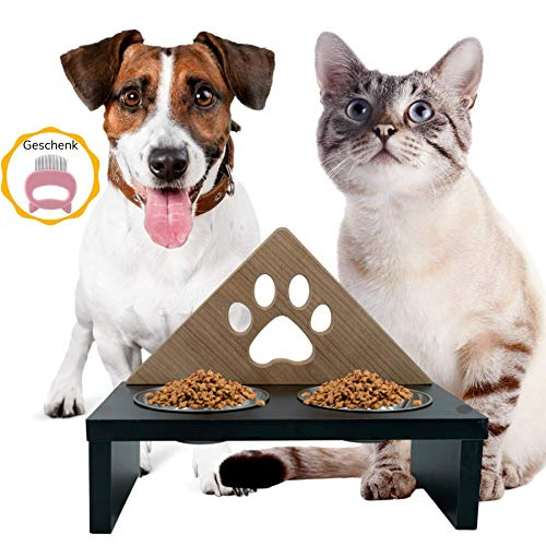 Futternapf Katze und Hunde Futterstation Erhöhter für Kleine & grosse Hunde - Katzen Fressnapf - Katzen Futternapf Hunde Wassernapf - Futterbar Schüssel - Futternapf-halterung aus Holz mit 2 Stahl set