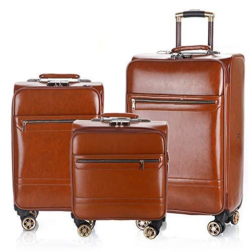 Durable Gepäckkoffer - Premium 16in 20in 24in PU-Leder Gepäck 3-teilige Sets Erweiterbare Pfosten Carry-on-Koffer Leichter 360 ° Silent Spinner Multidirektionale Räder für das Reisen und Fliegen von F
