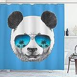 ABAKUHAUS Sonnenbrille Duschvorhang, Einzelnes Kühles Panda-Gesicht, Seife Bakterie Schimmel & Wasser Resistent inkl. 12 Haken & Farbfest, 175x180 cm, Blau Dunkelgrau Perle