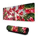 Gaming Mouse Pad Red Tulips in Sunlight Large Extended Computer Keyboard Mouse Mat Ultra Thick with Stitched Edges Premium-Textured & Waterproof Soft Non-Slip Rubber Base