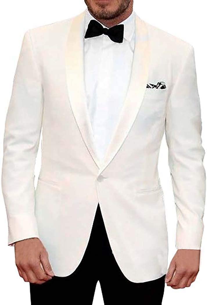 INMONARCH Mens Ivory Polyester 5 Pc Tuxedo Suit One Button TX1048