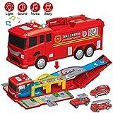 YIMORE Camión de Bomberos, Garaje para Coches de Juguete con 3 Autos, Infantil de la Pista , Regalo Educativo para Niños