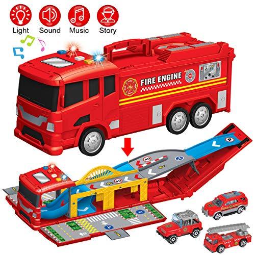 Equipo de fuego carretera forma Juguete Juego Con 2 Vehículos//Coche Lanzador Y Pista de bucle