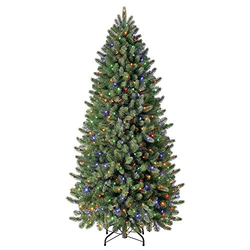 Evergreen Classics 6.5 ft Pre-Lit Vermont Spruce Quick Set Artificial Christmas Tree, Remote-Controlled Color-Changing LED Lights