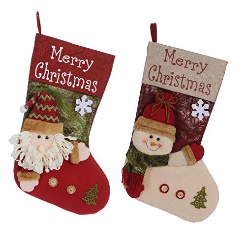 Sea Team, calze della Befana grandi, 43 cm, stile vintage, fatte a mano, calze per regali e dolcetti, con personaggi natalizi, set da 3